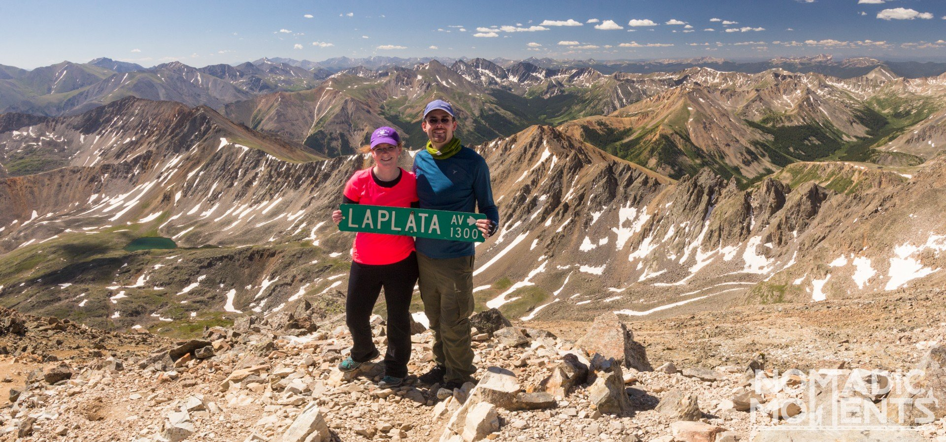 My Wife & I on top of La Plata Peak in Colorado, Moments Beyond