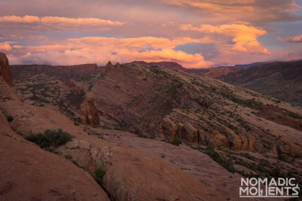 The trail section of slick rock at sunset