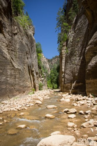 The Virgin River starts to flow into the deep The Narrows canyon.