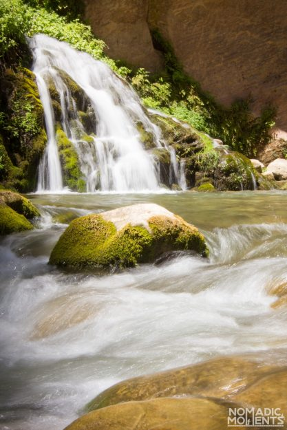 A waterfall crashes into the Virgin River.