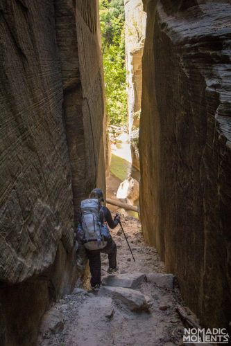 Hiking The Narrows involves descending a small side tributary around North Fork Falls.