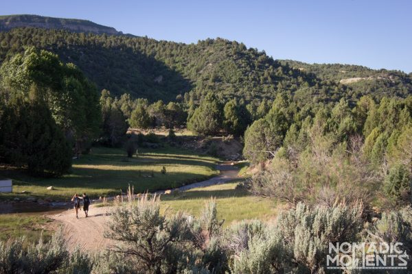 Two hikers set out for an adventure on the path through The Narrows.