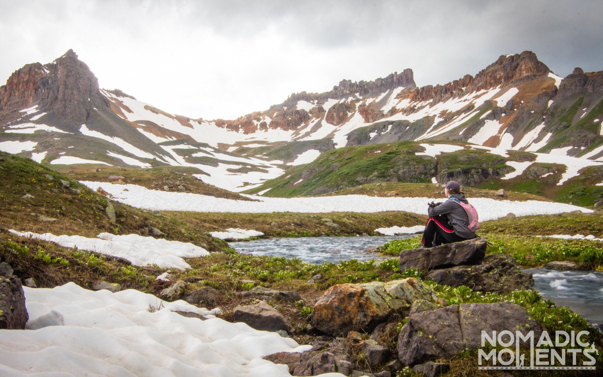 A hiker in the Upper Ice Lake Basin