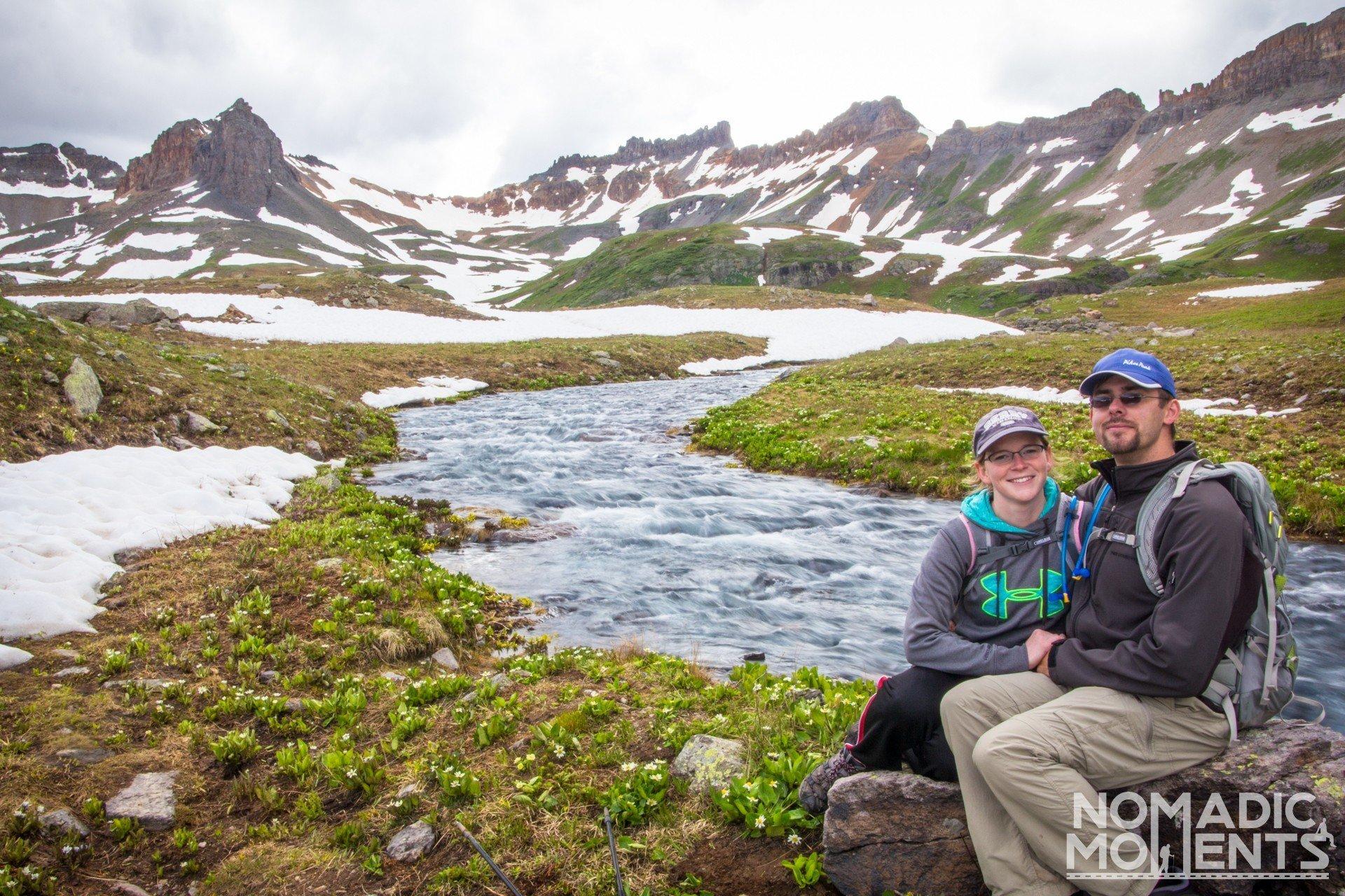 Two hikers at Colorado's Ice Lake Basin