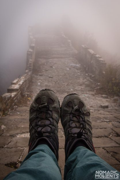 Shoes in the fog on the Great Wall of China