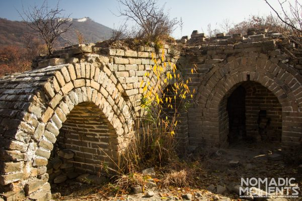 A deliapidated tower along the Jiankou section of the Great Wall of China