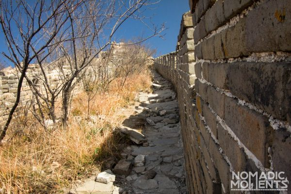 The trail on the Great Wall coming down the Ox Horn Edge area.