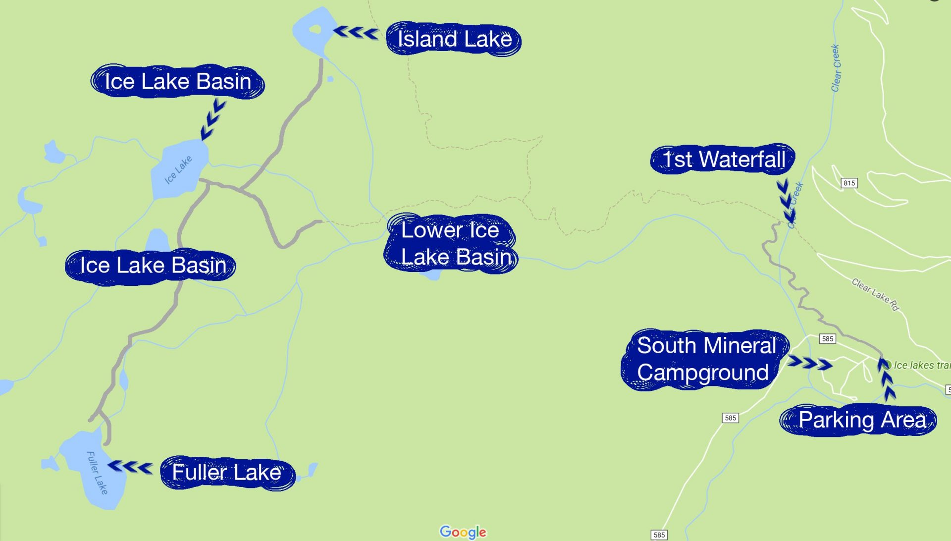 Hiking Map for the Ice Lake Basin trail