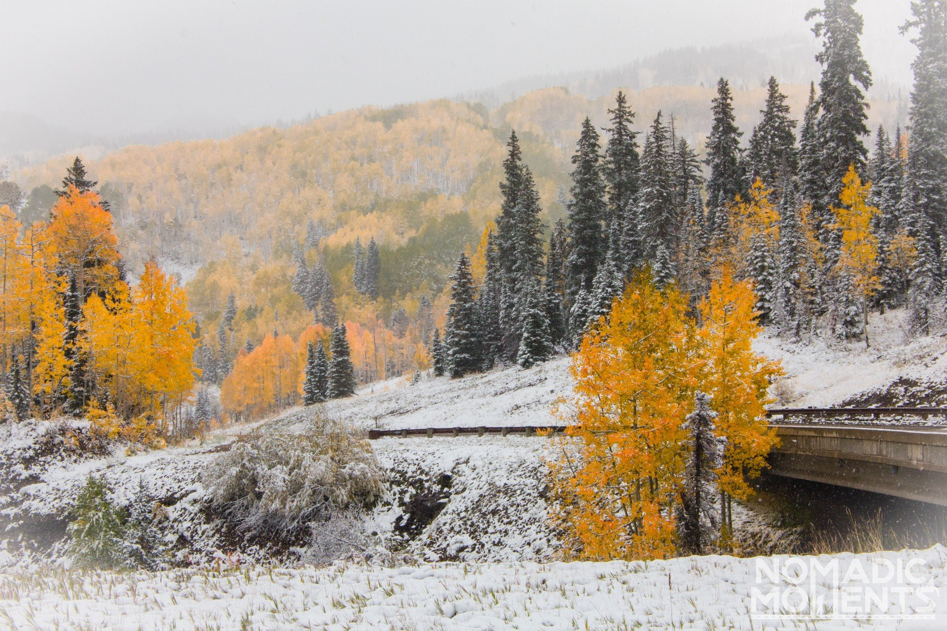 Early snow fall on the best autumn road trip in Colorado