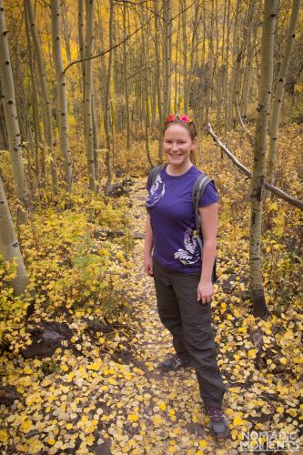 A hiker in the aspen trees