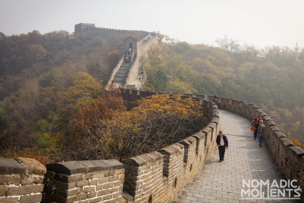 Visitors walk the Mutianyu Section of the Great Wall of China.