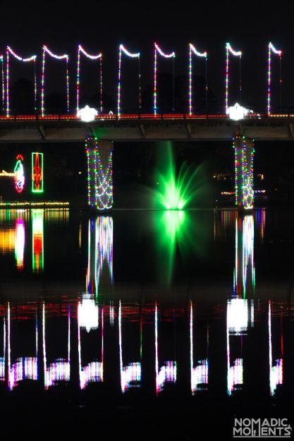 Reflections of Christmas in the Cane River.