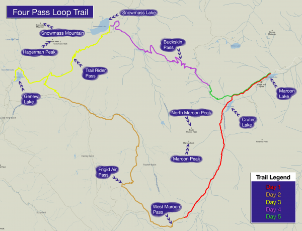 A hiking map for Colorado's Four Pass Loop trail.