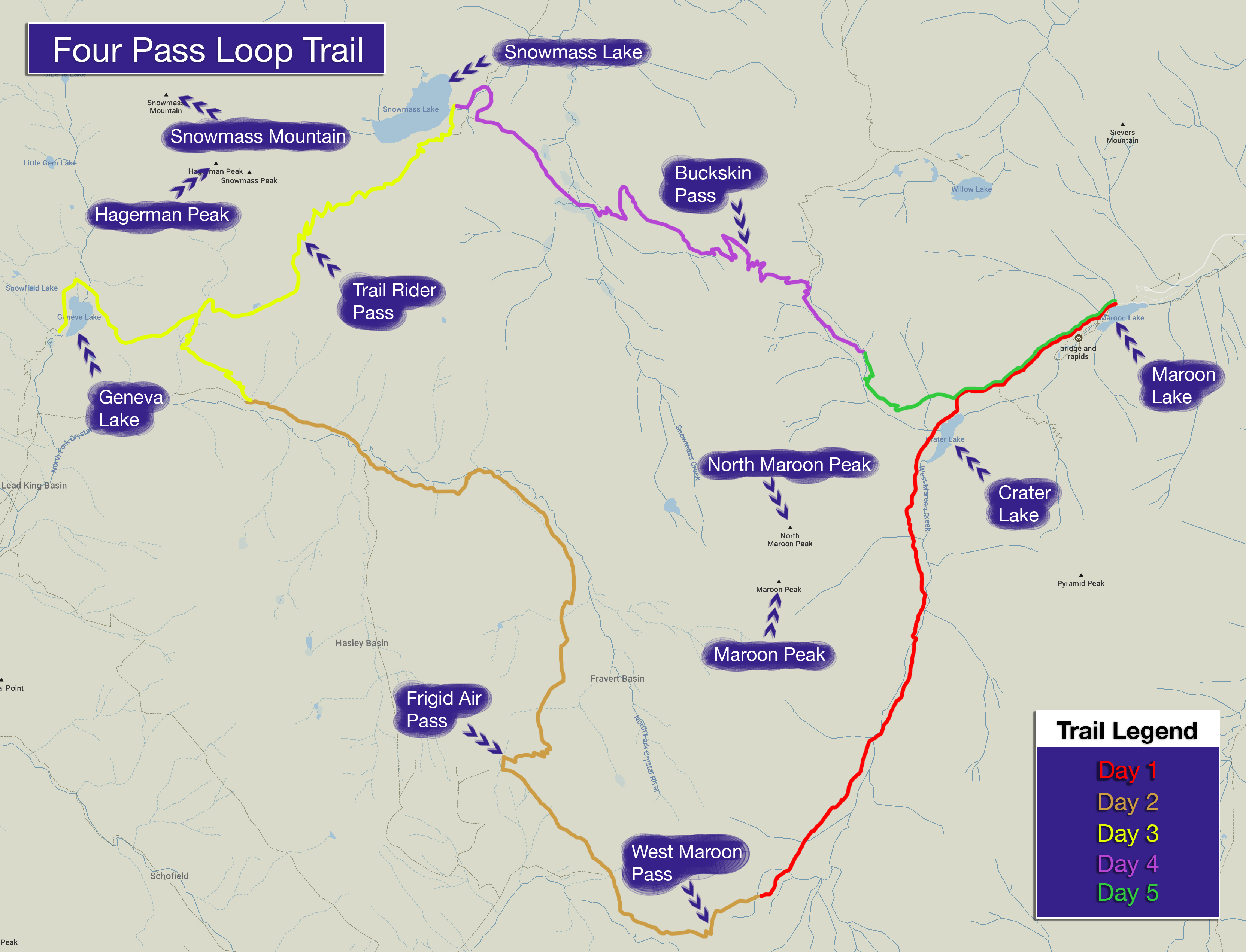 A hiking map for the Four Pass Loop.