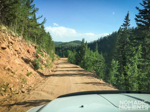 Driving along the narrow Gold Camp Road.