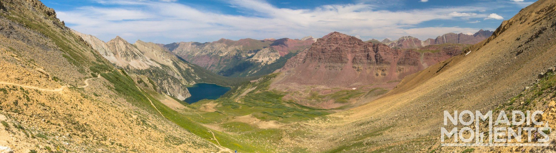 The valley of Snowmass Lake from Trail Rider Pass.