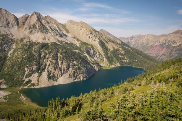 Snowmass Lake is a great spot for camping when backpacking the Four Pass Loop.