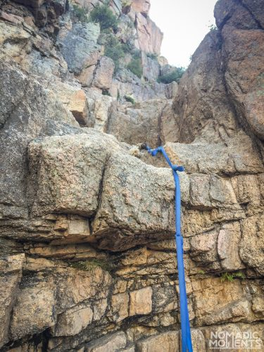 A climbing rope on Colorado's St. Peters Dome trail.