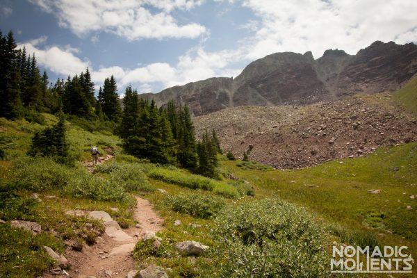 Hiking up Bucksin Pass