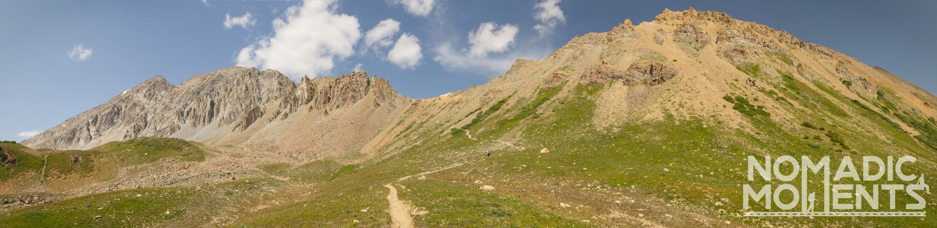 A panoramic view of the landscape leading to Trail Rider Pass.