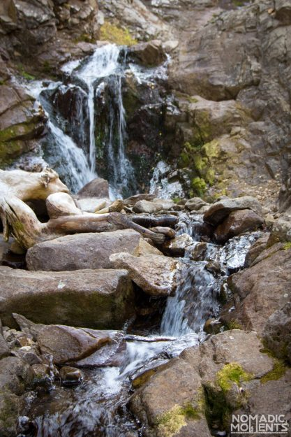 A small waterfall found on the Three Lakes Loop trail.