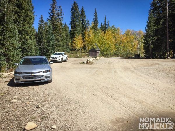 The parking area for the Three Lakes Loop hike.