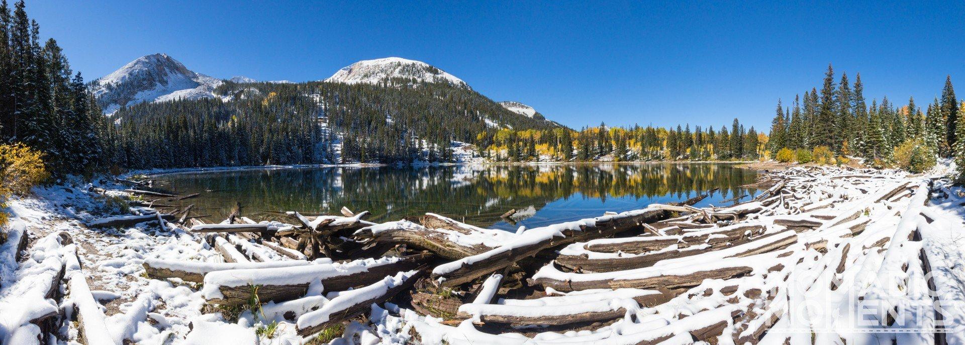The snowy shoreline of Colorado's Lost Lake.