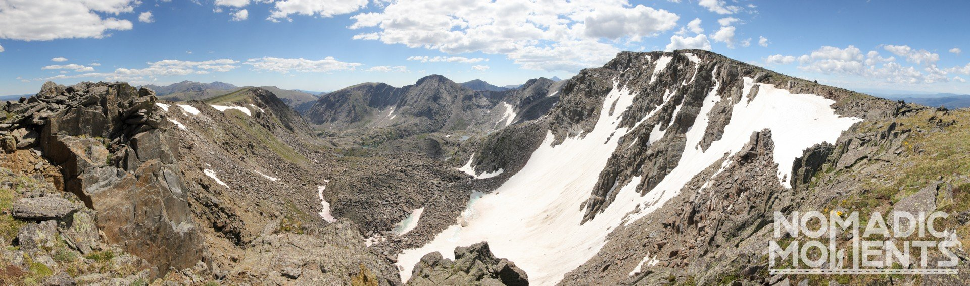 A panorama of the Rocky Mountain National Park landscape.