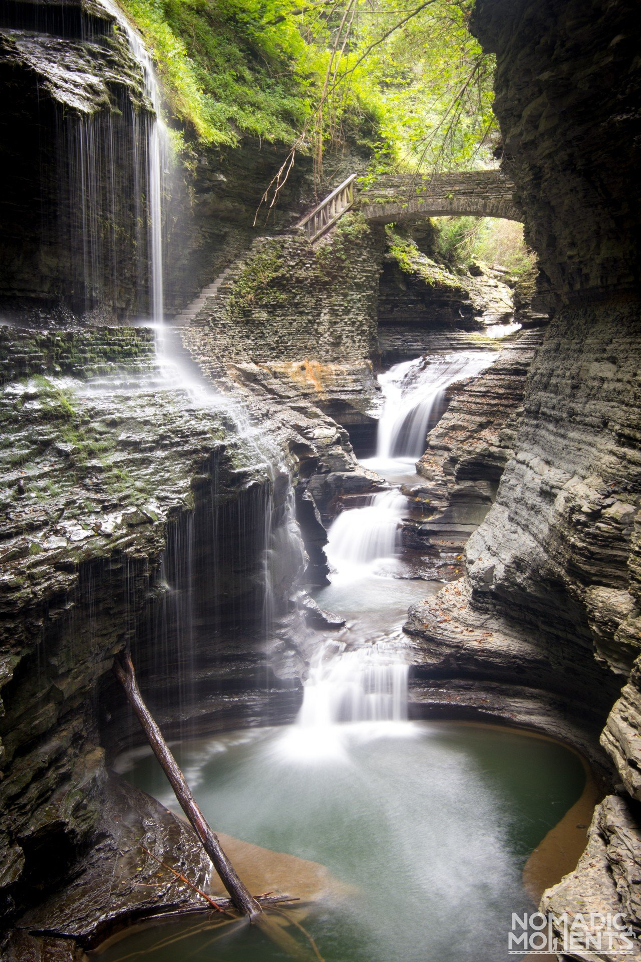 Rainbow Falls in Watkins Glen Gorge