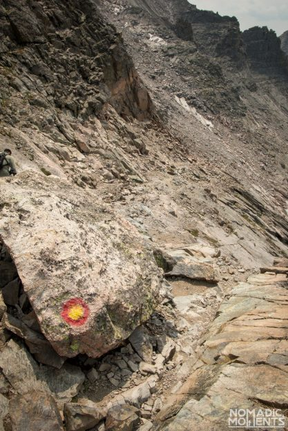 A red and yellow bull's eye painted on a rock.