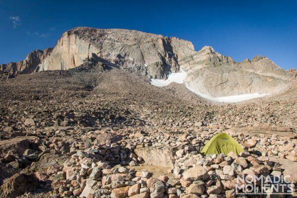 A tent setup in the Longs Peak Boulder Field