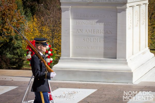 Changing of the Guard at Arlington National Cemetery's Tomb of the Unknown Soldier.