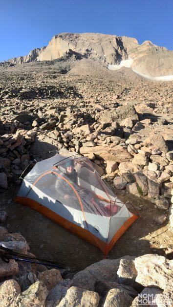 A tent in the Longs Peak Boulder Field.