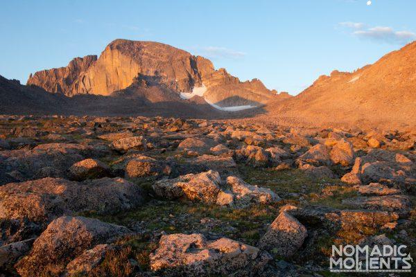 Longs Peak as seen from the Boulder Field in the early morning light.