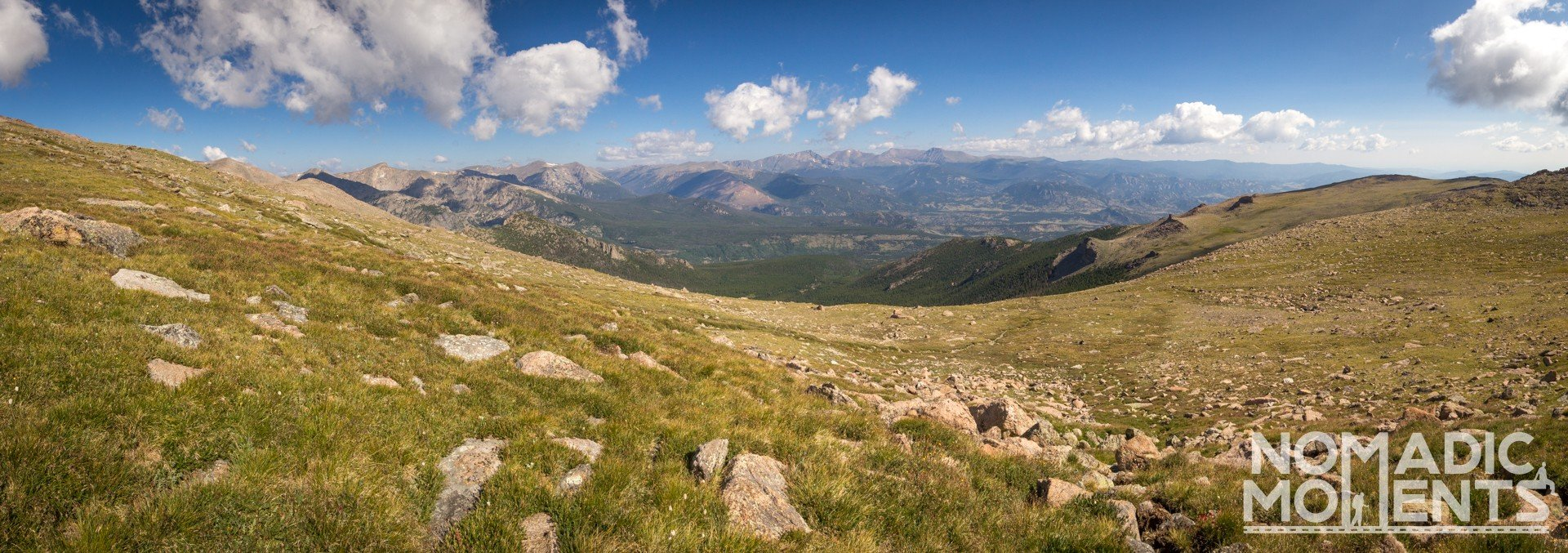 A view over Rocky Mountain National Park from the Long Peak trail.