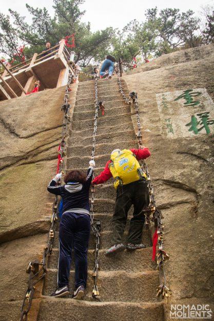 steps carved into stone on path up Huashan.