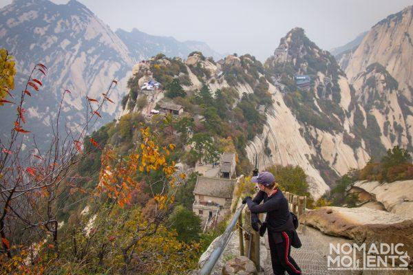 A hiker takes in the gorgious views on Huashan.