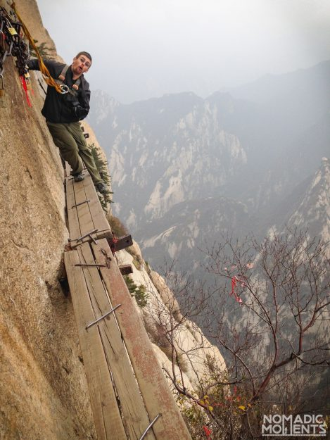 A hiker on the Huashan Plank Walk appears to have slipped.