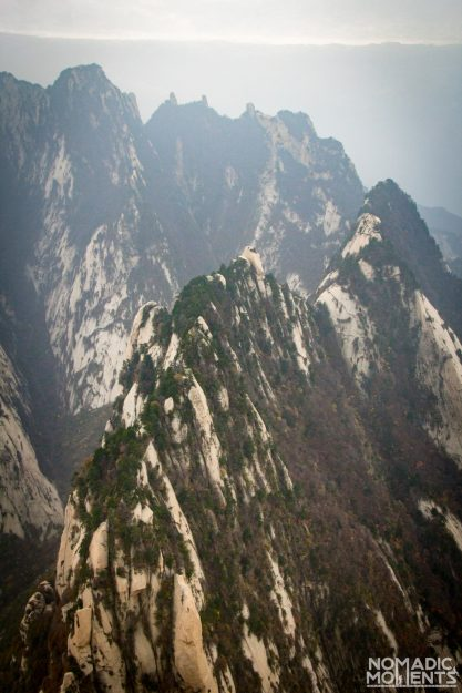 The vertical landscape from the Huashan Plank Walk.
