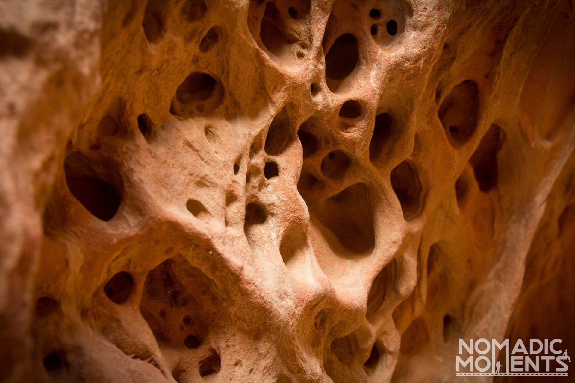 A rock wall with eroded holes in its surface.