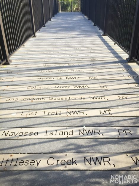 The Centennial Trail's boards with the National Wildlife Refuges etched into them.