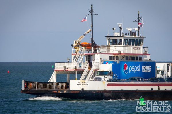 The Hatteras ferry boat at sea.