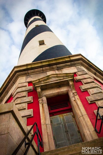 Looking up at the Cape Hatteras lighthouse from the base.