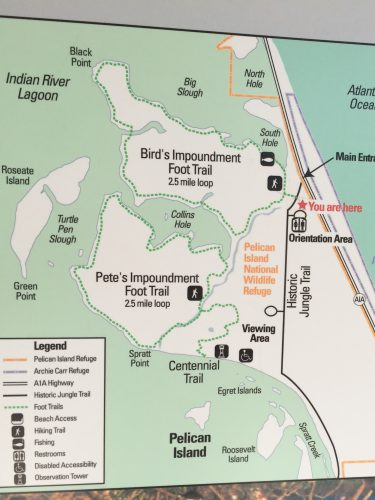 The Pelican Island National Wildlife Refuge hiking map.