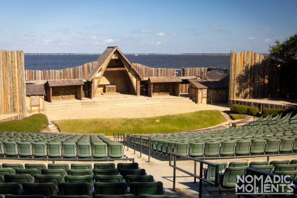 The outdoor theater overlooking the water at the Fort Raleigh National Historic Site.