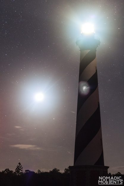 The moon and the Cape Hatteras Lighthouse.