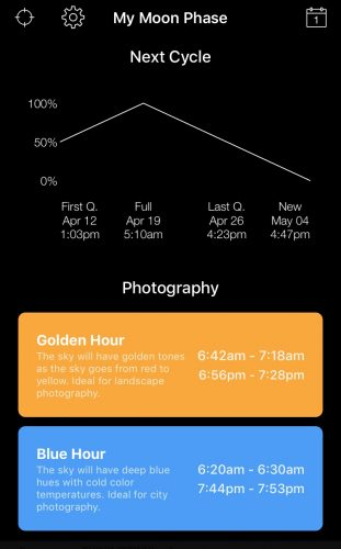 My Moon Phase app with Golden & Blue hours displayed.