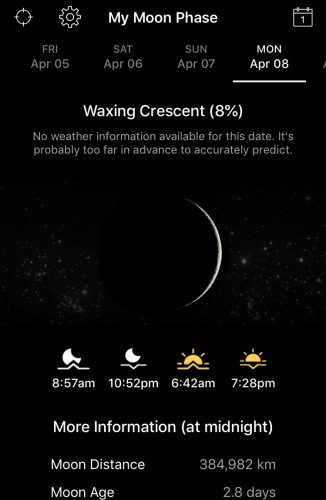 My Moon Phase App showing a Waxing Crescent Moon