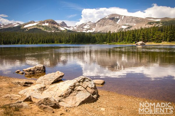 Shore of Brainard Lake and the finish of an adventure backpacking the Pawnee - Buchanan Loop