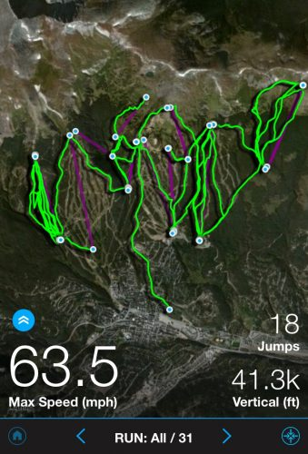 The Trace Snow app map displays all the ski runs for the day.
